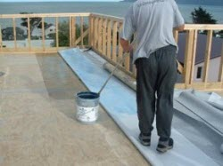 applying the contact adhesive to the membrane and the deck substrate