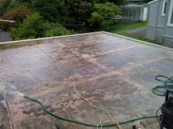 surface is soaked with degreaser solution ready for pressure washing