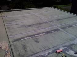 after sanding, ready for joint bandages, delaminated membrane in gutter sanded back