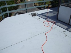 cement sheet deck with sealant removed