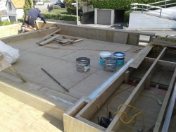 plywood roof substrate over garage under construction