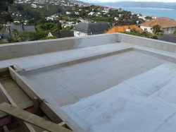 view across roof area to the north east, primed with hydroepoxy
