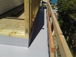 narrow east side ledge laid, edges to be folded and trimmed