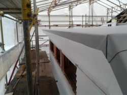 view along longest section of turndown, TPO folded and glued to aluminium drip edge
