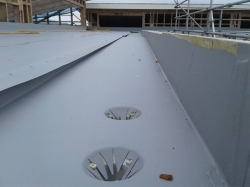 close up of the gutter and outlets cut
