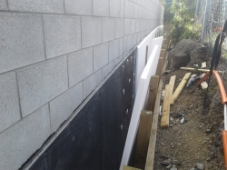 further down the trencjh, polystyrene boards