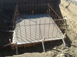 concrete is poured into the 'tank'