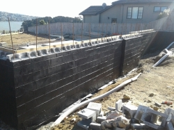 primed retaining wall view to north
