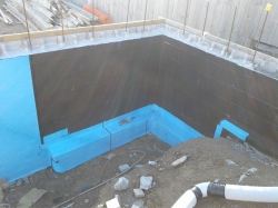 wider section of footing is covered with Nuraseal membrane