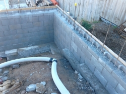 concrete block retaining walls after rain