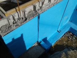 membrane at the south wing rebate end, extra piece carries on just for vertical DPC, no footing detail