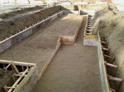 formwork/boxing for Orchestra Pit Floor, sand base