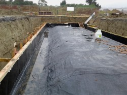 rain overnight, water retained on membrane