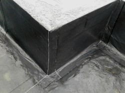 internal formwork has self adhesive stuck to it and dressed over the top and down onto the floor membrane