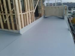 view along main sheet, one upstand glued to wall framing