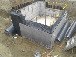 partial Tefond Drainage protection sheet installed SE corner