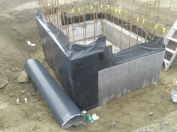 partial Tefond Drainage protection sheet installed SW corner
