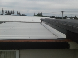 apron flashing with flexible edge installed, top edge primed with bitumen